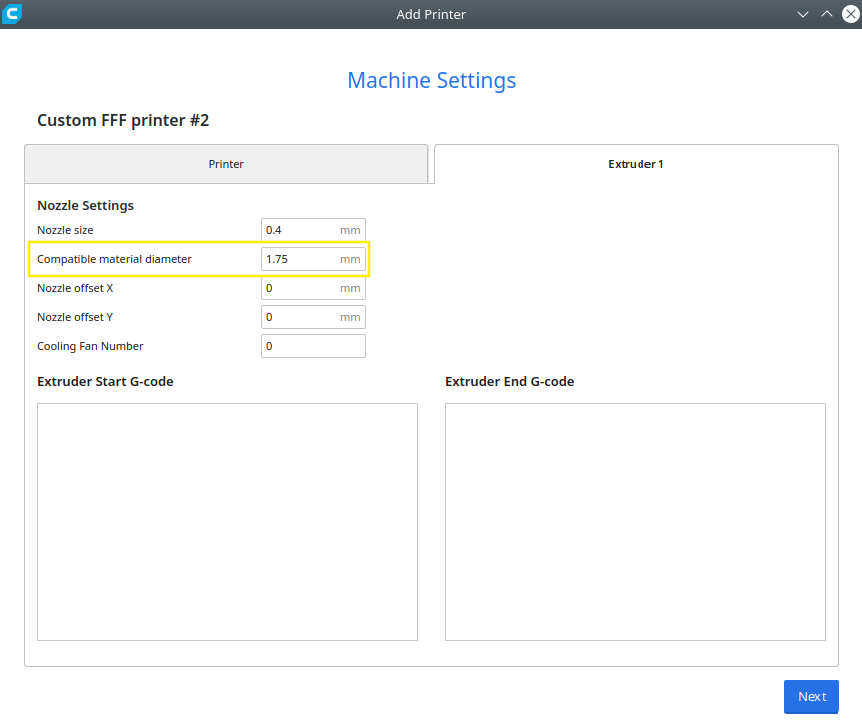"""Cura's """"Machine Settings"""" dialog on the """"Extruder 1"""" tabpage."""