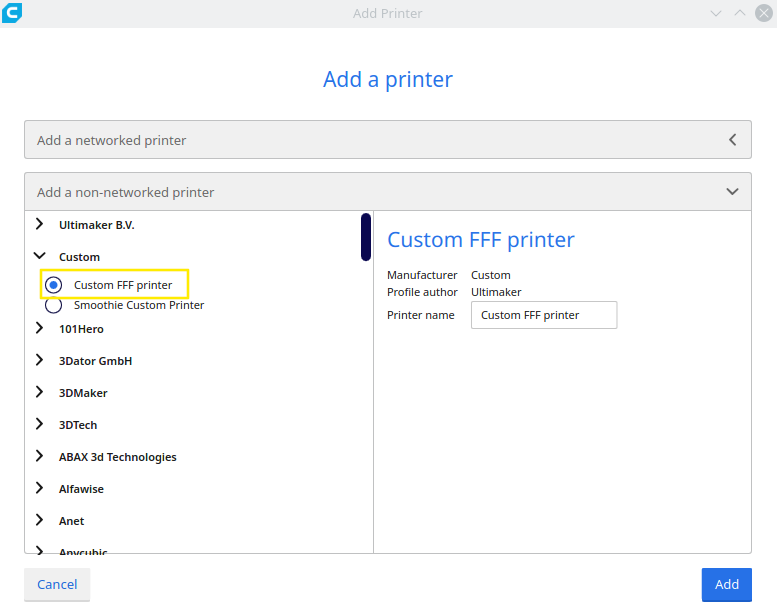 "Cura's ""Add a printer"" dialog."